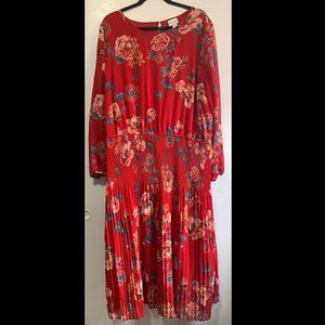 Red Floral Midi 3/4 Sleeve Dress with Arm Slits